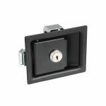 平面型拉式門扣-鐵製 (黑)-附鎖型